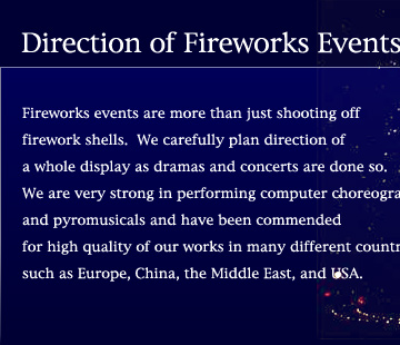 Direction of Fireworks Events by TAMAYA ART PYROTECHICHS